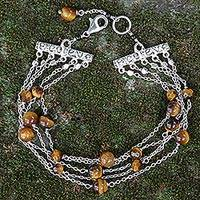 Tiger's eye multi-strand station bracelet, 'Mata Harimau' - Javanese Multi-Strand Tiger's Eye and Onyx Station Bracelet