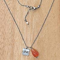 Carnelian and cultured pearl pendant necklace, 'Inspiring Love' - 925 Silver and Carnelian Necklace Love Themed Jewelry