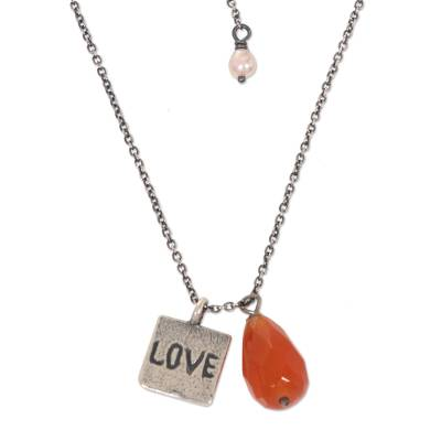 925 Silver and Carnelian Necklace Love Themed Jewelry