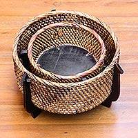 Natural fiber decorative baskets, 'Lombok' (pair) - Hand Woven Natural Fiber Circular Baskets (Pair)