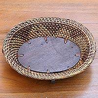 Natural fiber decorative tray, 'Timeless Lombok' - Artisan Crafted Natural Fiber Wood Balinese Decorative Tray