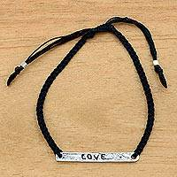 Sterling silver bar bracelet, 'Love in Black' - Inspirational Love Bar Bracelet Crafted by Hand in Bali
