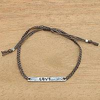 Sterling silver bar bracelet, 'Love in Brown' - Inspirational Silver Love Bar Bracelet Crafted by Hand