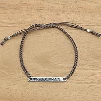 Sterling silver bar bracelet, 'Tranquility in Brown' - Tranquility Inspirational Bracelet from Bali with 925 Silver