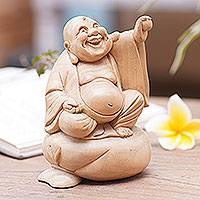 Wood sculpture, 'Happy Buddha of Wealth' - Hand Carved 6-Inch Crocodile Wood Happy Buddha Statuette