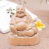 Wood sculpture, 'Buddha's Smile' - Fair Trade 6-in Handmade Wooden Sculpture of Smiling Buddha