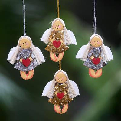 Wood ornaments, 'Heart Angels' (set of 4) - 4 Artisan Crafted Angel with Hearts Holiday Ornaments Set