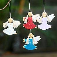 Wood ornaments, 'Dancing Angels' (set of 4) - 4 Artisan Crafted Angel Holiday Ornaments Set from Bali
