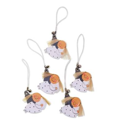 Artisan Crafted Wood Holiday Ornament Set of 5 Angels