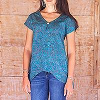 Rayon batik blouse, 'Teal Floral' - Teal Rayon Batik Women's Top with Hi Low Hem