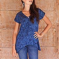 Rayon batik blouse, 'Blue Nebula' - Blue Batik Women's Blouse with Cap Sleeves