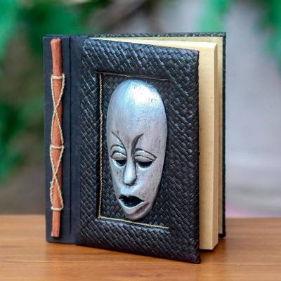 Natural fibers journal, 'Silver Guardian' - Silver Wood Mask on Hand Crafted Natural Fiber Journal