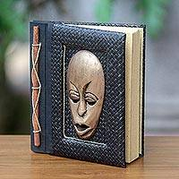 Natural fibers journal, 'Golden Guardian' - Golden Wood Mask on Natural Fiber 50-page Journal