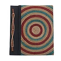Natural fibers journal, 'Blue Bullseye' - 50-page Handmade Journal with Natural Fibers and Rice Paper
