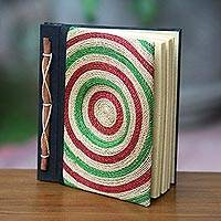 Natural fibers journal, 'Green Bullseye' - Artisan Crafted Journal with 50 Pages of Rice Paper