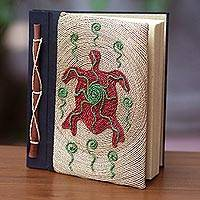Natural fiber journal, 'Red Turtle' - Red Turtle Motif Handmade Natural Fiber Blank Journal