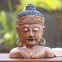 Wood statuette, 'Golden Serenity' - Hand Crafted Wood Statuette of Buddha from Bali