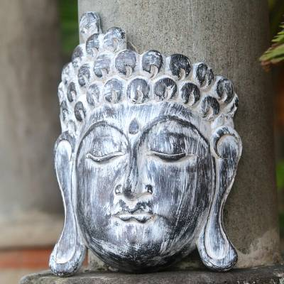 Wood mask, 'Buddha Serenity' - Balinese Whitewashed Wood Wall Mask of Buddha