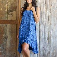 Rayon batik dress, 'Blue Nebula' - Blue Batik Clouds on Sleeveless Sundress with Hi Low Hem