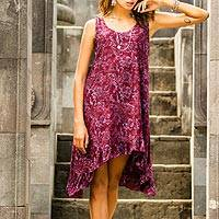 Rayon batik dress, 'Wine Floral' - Womens 100% Rayon Tank Sundress with High Low Ruffled Hem an