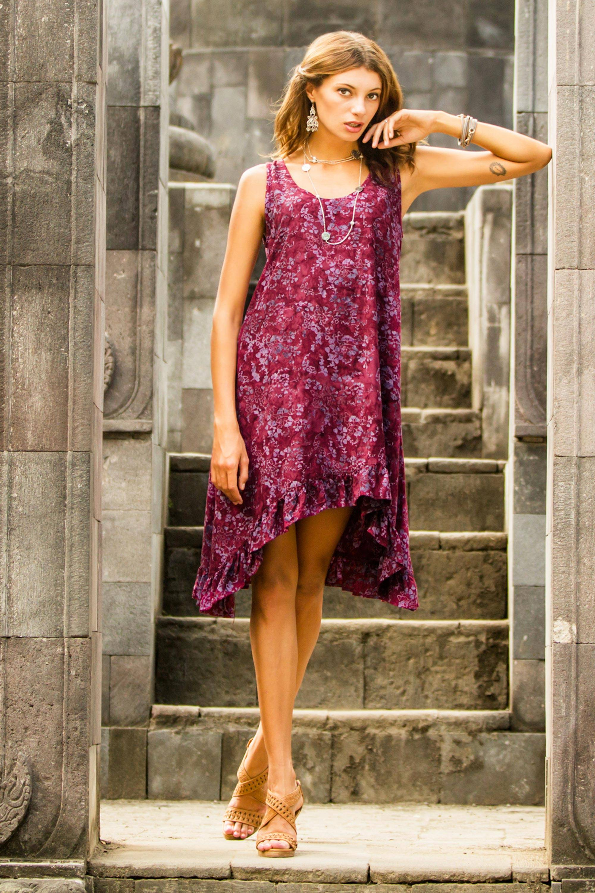 Essential Summer Dress Styles Global Style From Novica Tendencies Short Shirts Basic Long Collar Less Wine Burgundy S Batik Printed Maroon And Pink Flowers On Rayon Sundress Floral