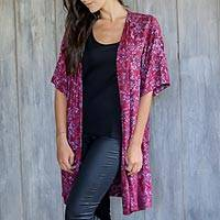 Rayon batik long jacket, 'Wine Floral' - Wine and Lavender Floral Batik Jacket with Open Front