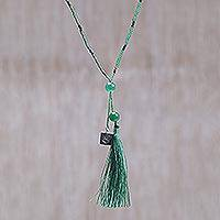 Quartz pendant necklace, 'Spread the Love in Green' (Indonesia)