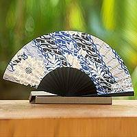 Silk batik fan, 'Blooming Chrysanthemums' - Handcrafted Silk Fan in Blue and Black Batik Design