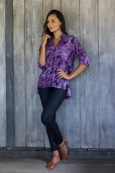 Rayon batik blouse, 'Purple Lily' - Hand Stamped Purple Floral Batik Rayon Shirt for Women