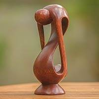 Wood statuette, 'Indivisible Love' - Indonesian Romantic Wood Sculpture
