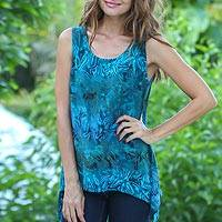Rayon batik tank top, 'Kenanga' - Womens Fair Trade Teal Hand Stamped Batik Sleeveless Tank wi