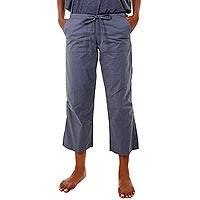 Cotton cropped pants, 'Mawar in Grey' - Grey Cotton Poplin Ankle Length Trousers with Cargo Pockets