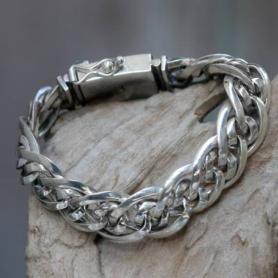 Men's sterling silver chain bracelet, 'Bali Duo' - Artisan Crafted Chunky Sterling Silver Men's Bracelet
