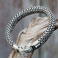 Mens sterling silver chain bracelet Naga Tales (Indonesia)