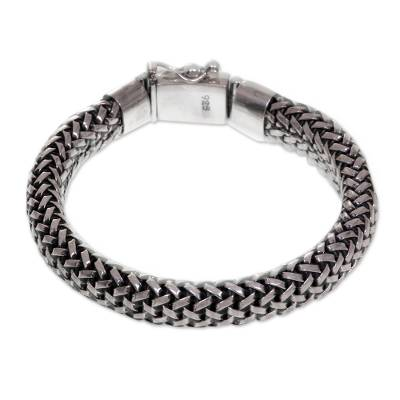 Artisan Crafted Wide Chain Bracelet in 925 Sterling Silver