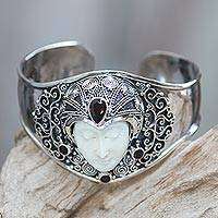 Garnet cuff bracelet, 'Jungle Princess' - Artisan Crafted Carved Bone and Silver Cuff with Garnets
