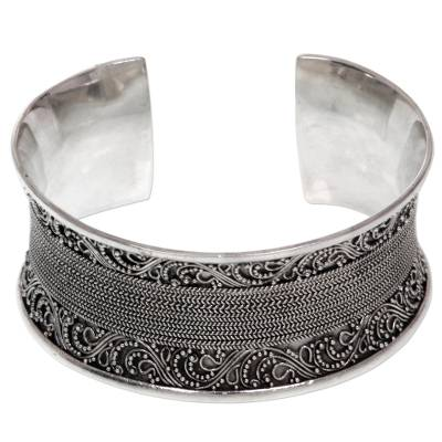 Artisan Crafted Ornate Sterling Silver Cuff Bracelet