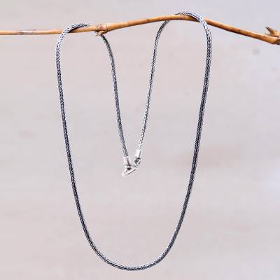 Sterling silver chain necklace, 'Naga Tradition II' - Artisan Crafted Sterling Silver Naga Chain Necklace