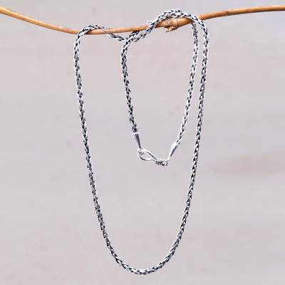 Sterling silver chain necklace, Ancient Wheat