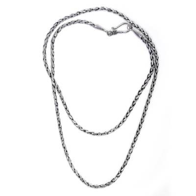 Sterling Silver 925 Wheat Chain Necklace from Bali