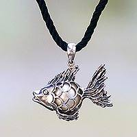 Cultured pearl pendant necklace, 'Iridescent Goldfish' - Sterling Silver Goldfish Necklace with a Cultured Mabe Pearl