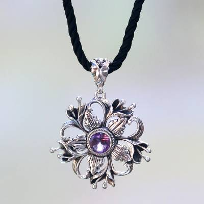 Amethyst pendant necklace, 'Lilac Lilies' - Floral Theme Sterling Silver and Amethyst Necklace from Bali