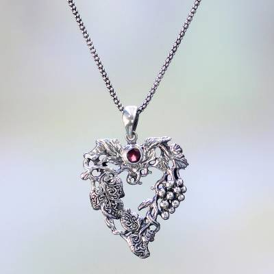Garnet pendant necklace, 'Heart of the Vineyard' - Heart Shaped Sterling Silver Pendant Necklace with Grapes