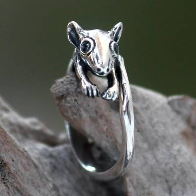 sterling silver ring necklace gold - Indonesian Animal Theme Sterling Silver Ring with Onyx