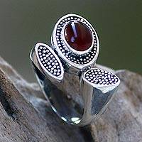 Carnelian cocktail ring, 'Red Lotus' - Handcrafted Lotus Theme Sterling Silver and Carnelian Ring