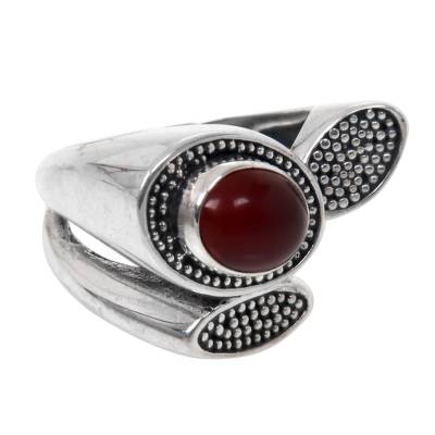 Handcrafted Lotus Theme Sterling Silver and Carnelian Ring