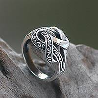 Sterling silver cocktail ring, 'Linked' - Combination Finish Sterling Silver Cocktail Ring from Bali