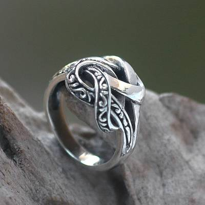 monogram ring silver value - Combination Finish Sterling Silver Cocktail Ring from Bali
