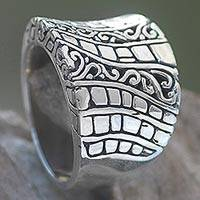 Sterling silver band ring, 'Banana Tree Bark' - Hand Crafted Engraved Sterling Silver Band Ring from Bali