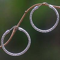 Sterling silver hoop earrings, 'Pandan Weaving' - Hoop Earrings of Handwoven Sterling Silver Ribbons
